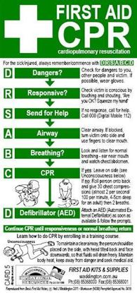 Picture of First Aid --Card CPR Resuscitation Flow Chart