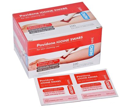 Picture of Antiseptic -Povidone-iodine Swabs Box 100